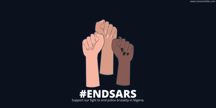 Three clenched fists, with the caption #ENDSARS Support our fight to end police brutality in Nigeria.